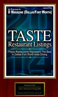 D Magazine Best in Dallas Fort Worth Area Dining 2014