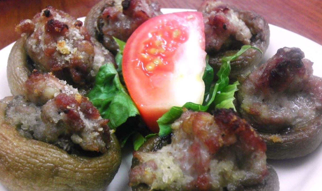 Bratwurst stuffed mushrooms