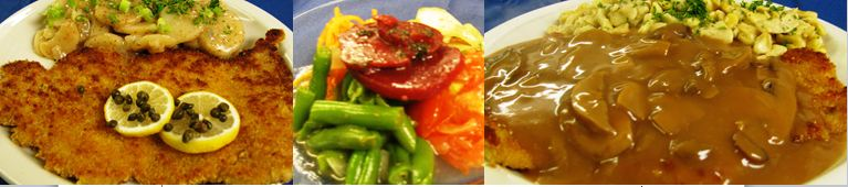 Wiener Schnitzel Mixed Salad Jaeger Schnitzel